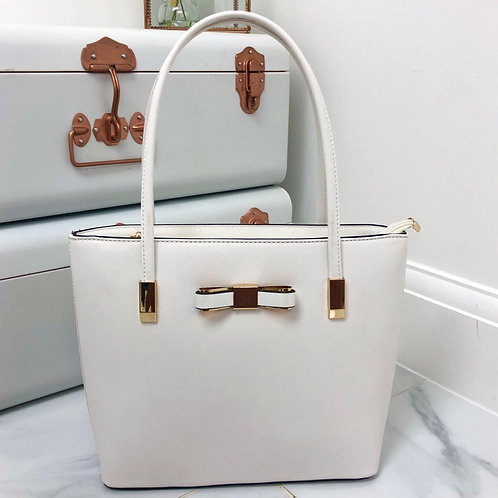 White with Gold Bow Detail Small Shoulder Bag