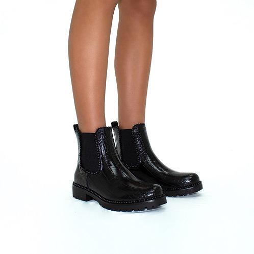 Hailey - Black Pu Croc Print Black Ball Ankle Chelsea Boots