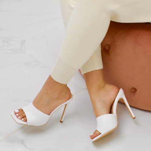 Amber - White Square Toe Stiletto Heel