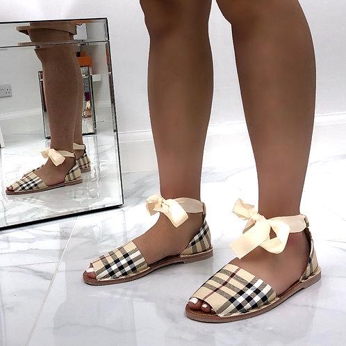 Aariya - Beige Checkered Print Tie Up Flat Peep Toe Sandal