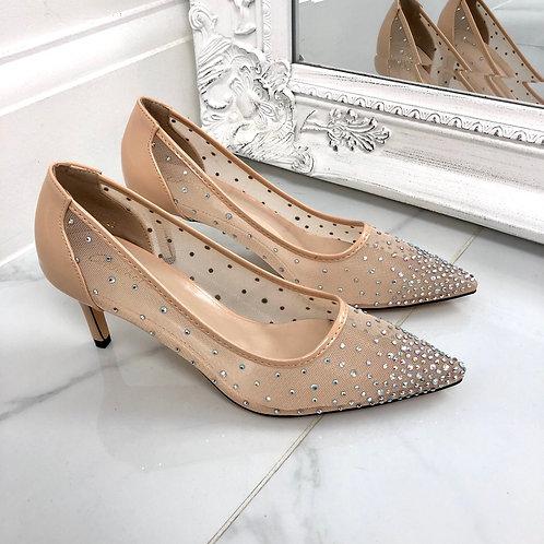 Claudia - Nude Patent Mesh Diamante Pointed Toe Low Heels