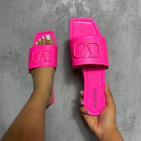 Rai - Neon Pink V Detail Square Toe Flat Sandals