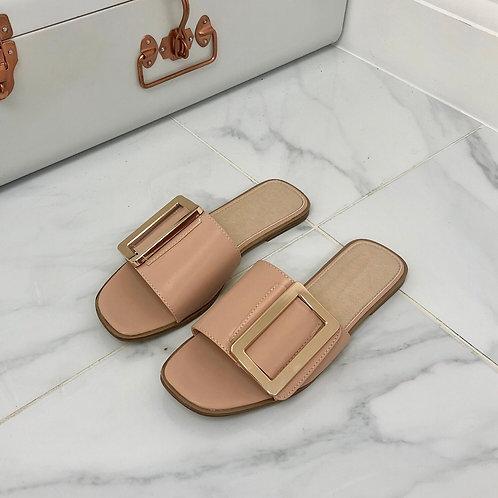 Meera - Nude Square Toe Gold Rectangle Detail Slip On Flat Sandal