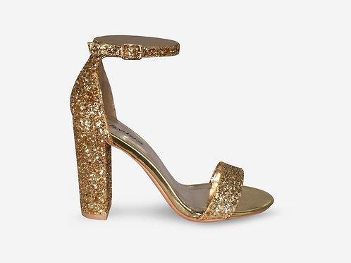 Hannah - Metallic Gold and Glitter Strap Block Heel