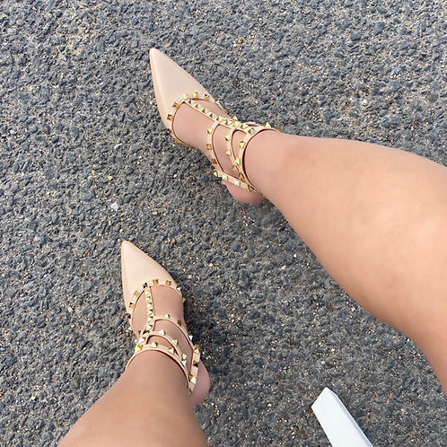 Verity - Nude Patent with Nude Strappy Gold Studded Pointed Stiletto Heels