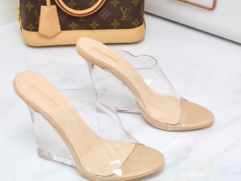 Eva - Nude Perspex Clear Wedge Heels