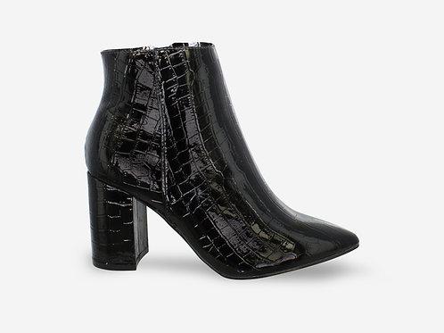 Sandra - Black Patent Croc Print Pointed Block Heel Ankle Boot