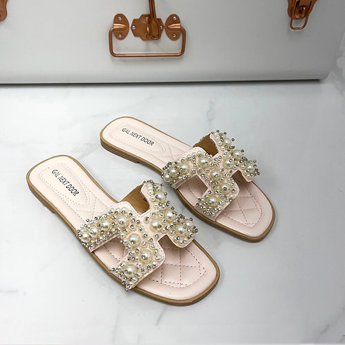 Penelope - Pale Pink with Pearl H Style Square Toe Slip On Sandals