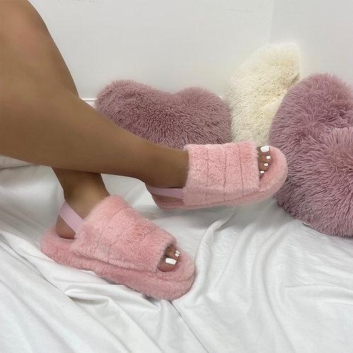 Sky - Pink Fluffy Sling Back Slider Sandals