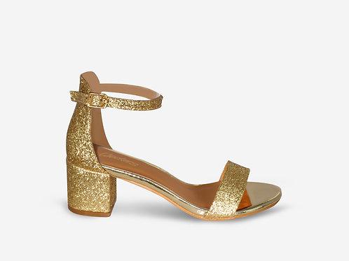 Rebecca - Metallic Gold and Glitter Low Block Heel