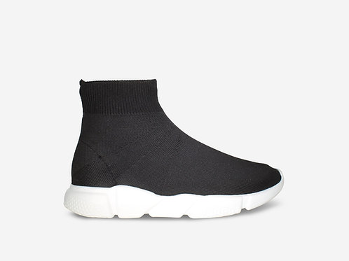 Zara - Black/ White Pull On Sock Boot Trainer