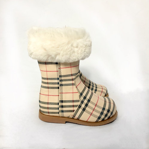 Marielle - Beige Check Print with Cream Fur Ankle Boot