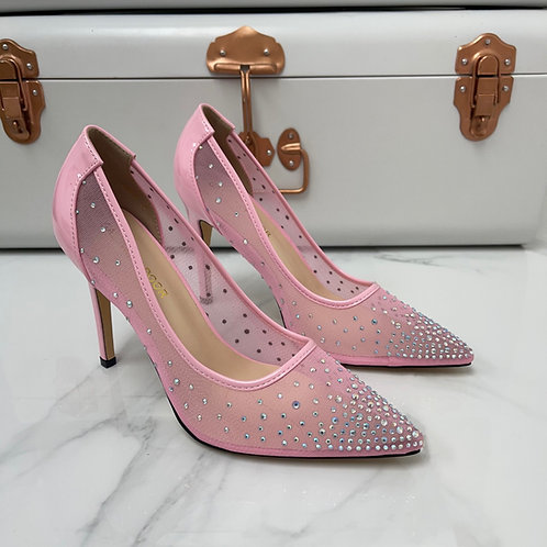 Sofia - Pink Patent Mesh Diamante Pointed Toe Heels