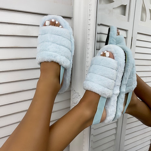 Sky - Baby Blue Fluffy Sling Back Slider Sandals