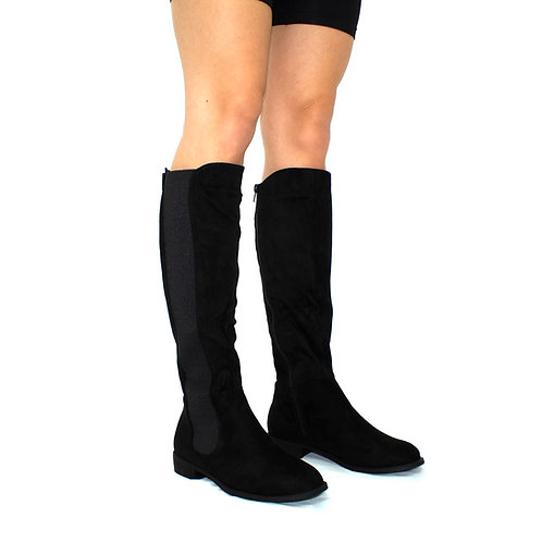 Kellie - Black Faux Suede with Lycra Stretch Gusset Knee High Boots