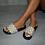Thumbnail: Ivy  - Pearl Gold Studded G Slider Sandals