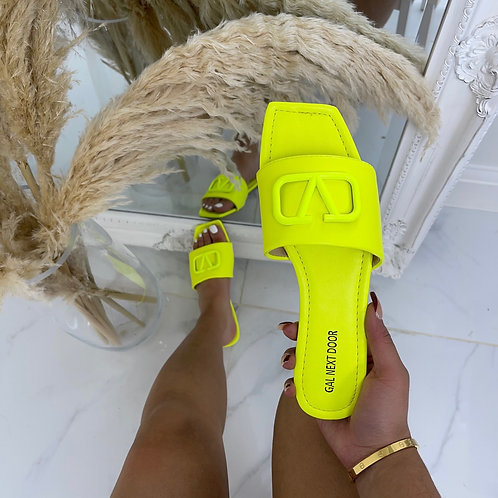 Rai - Neon Yellow V Detail Square Toe Flat Sandals