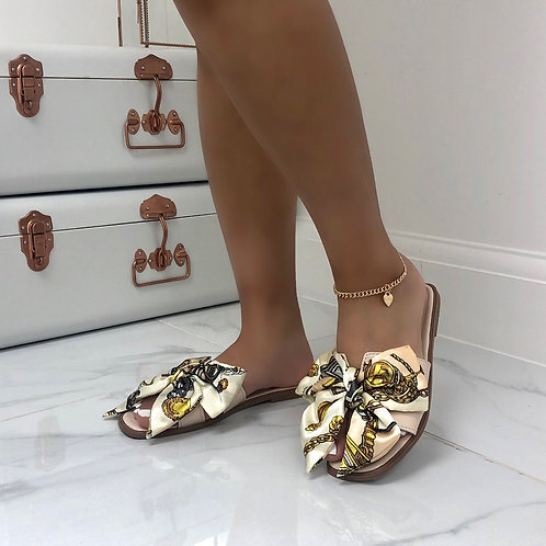 Polly - Nude Patent Chain Print Silk Scarf Bow Slip On Sandals