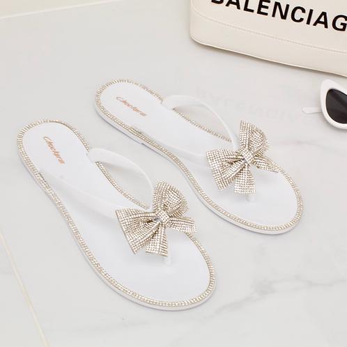 Bella - White Jelly Diamanté Bow Flat Sandal