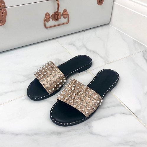 Dolce - Beige Snake Print with Silver Studs Flat Slip On Slider Sandal