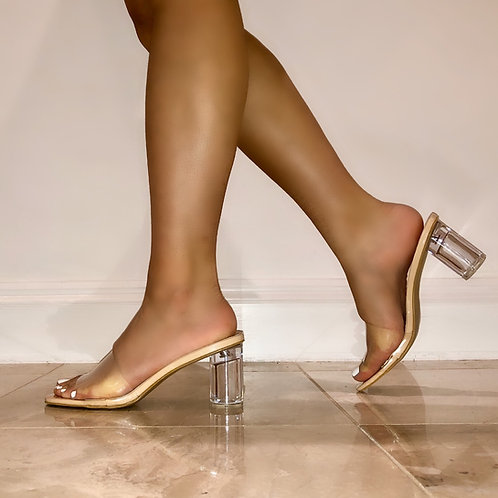 Sian - Nude Patent Perspex Square Toe Low Round Block Mule Heel