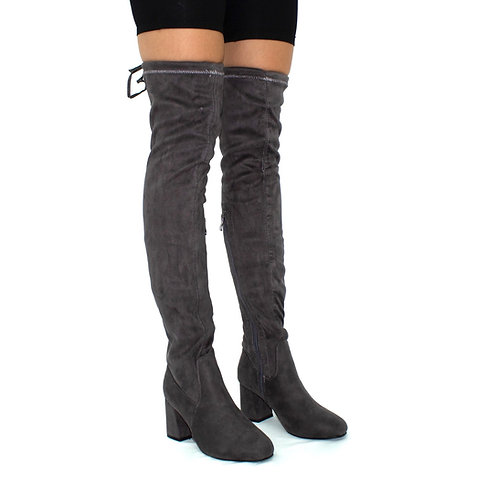 Jordan- Grey Faux Suede Low Block Heel Knee High Boots
