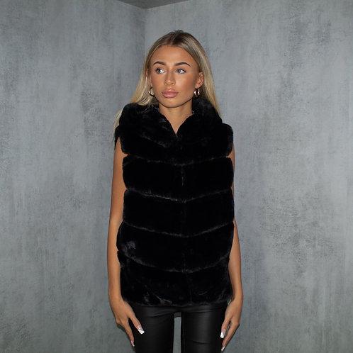 Black Faux Fur Short Hooded Gillet Body-Warmer Coat