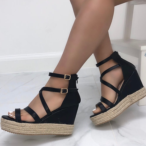 Luna - Black Strappy Woven Sole Wedges