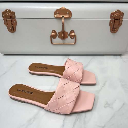 Freida - Pink Woven Detail Square Toe Flat Slip On Sandals
