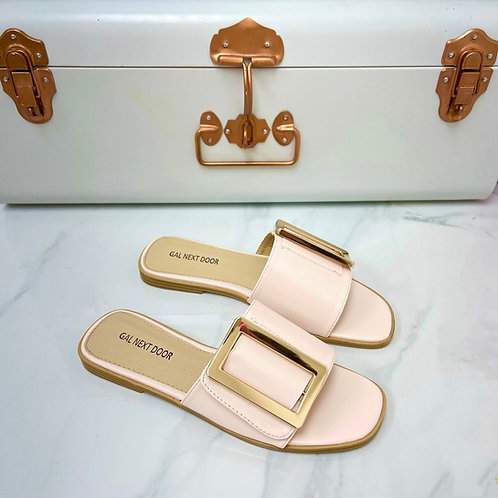 Meera - Pink Square Toe Gold Rectangle Detail Slip On Flat Sandal