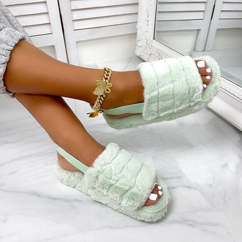 Sky - Sage Fluffy Sling Back Slider Sandals