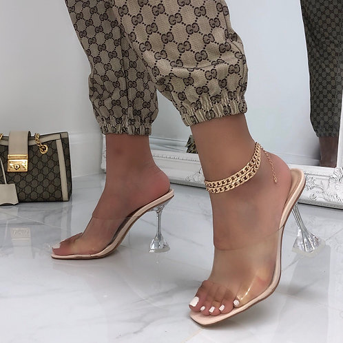Beau - Nude Patent Perspex With Clear Pyramid Heels