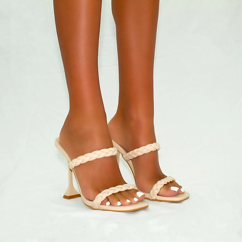 Robin - Cream Plaited Detail Square Toe Pyramid Heels