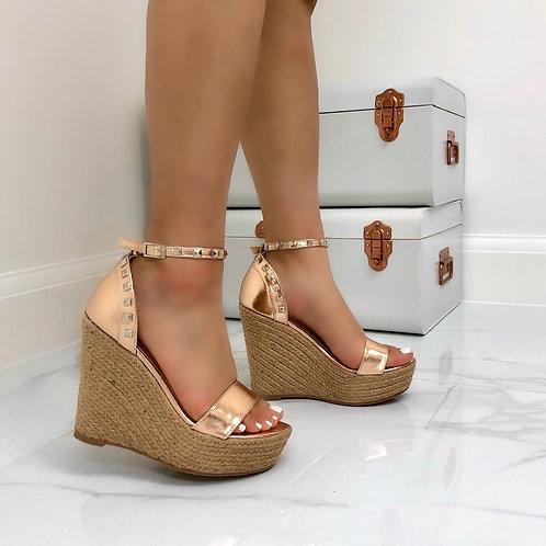 Liza - Rose Gold Studded Woven Platform Wedge Sandal