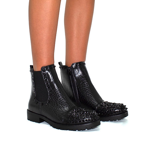 Christina- Black Faux Leather Croc Print Studded Biker Ankle Boot