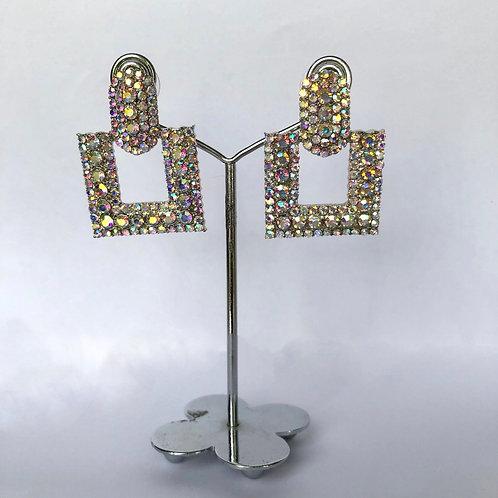 Small Square Silver/Multicoloured Diamanté Earrings