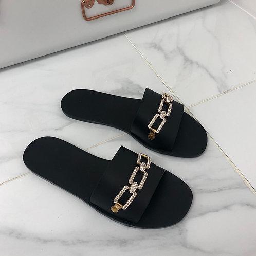 Harper - Black Jelly Gold Diamanté Chain Slider Sandal
