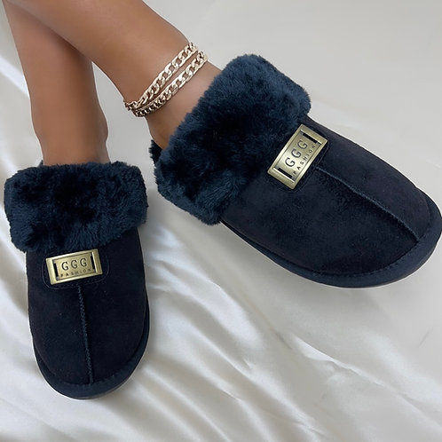 Janie - Black Faux Fur with Gold Detail Slippers