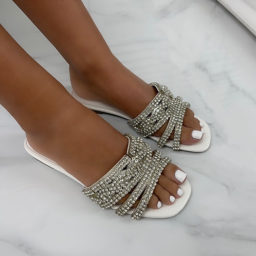 Gina - White Patent Croc Print with Silver Diamante Detail Flat Slip On Sandals
