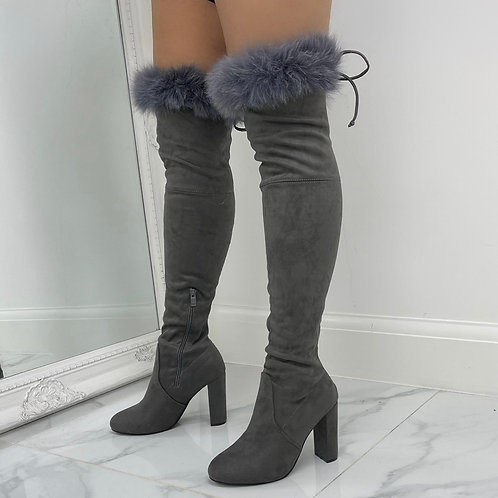 Kaitlyn - Grey Faux Suede Over The Knee Tie Up Block Heel Boots