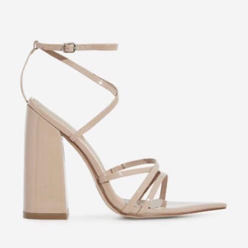 Emma - Nude Patent Pointed Toe Block Heel