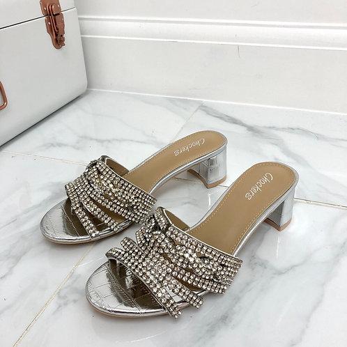 Regina - Silver Patent Croc Print  Silver Diamante Detail Low Block Mule Heels