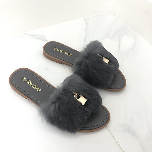Fenty - Grey Fluffy Gold Padlock Slip On Toe-Post Slider Sandals