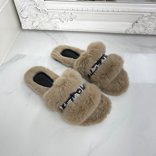 Tamara - Taupe Fluffy D Print Slippers