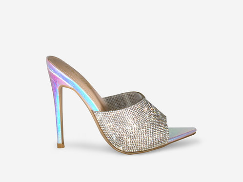Lola - Iridescent Croc Print Pointed Toe Diamante Heel