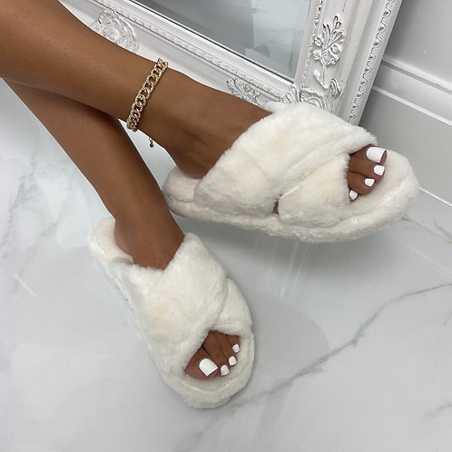 Nala - White Fluffy Cross Strap Slippers