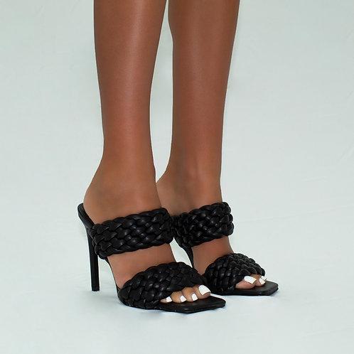 Sasha - Black Double Woven Band Stiletto Heels