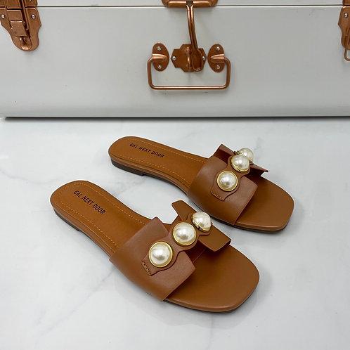 DUBAI - Tan with  Gold & Pearl Detail Flat Sandals