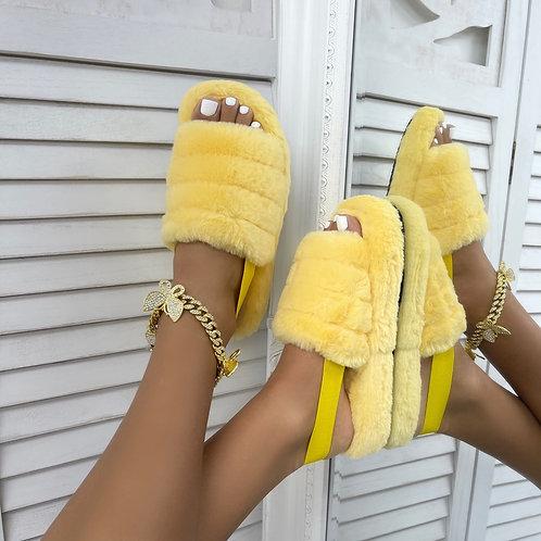 Sky - Lemon Fluffy Sling Back Slider Sandals