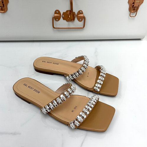 Vibe - Nude Double  Strap Jewel Detail Square Toe Slip On Sandals